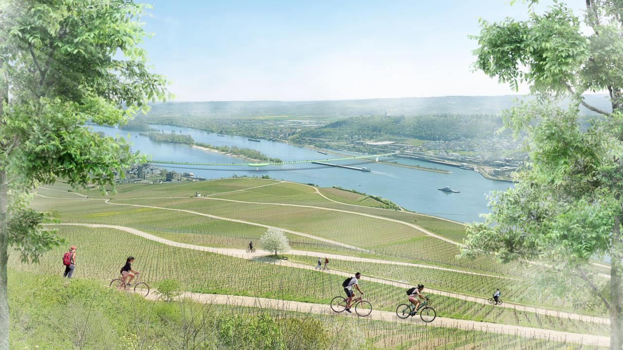 So ähnlich könnte die Rheinbrücke für Fußgänger und Radfahrer aussehen